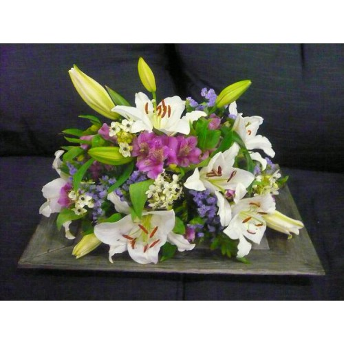 Sympathy Cemetery Flower Arrangement Exclusive Plastic Tray
