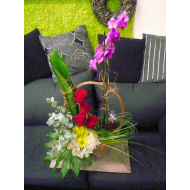 Orchid-plant and Flower Arrangement in a Basket