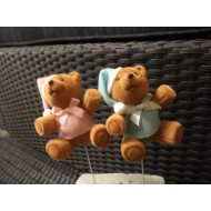 Bear on a Stick 8 cm Blue or Pink
